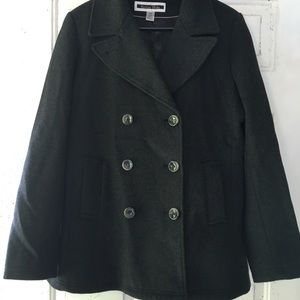 Charcoal Grey Wool Blend Peacoat Satin Lining